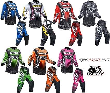 Traje de motocross Wulfsport para niños de 5 a 7 años (incluye pantalón y camiseta, color azul)