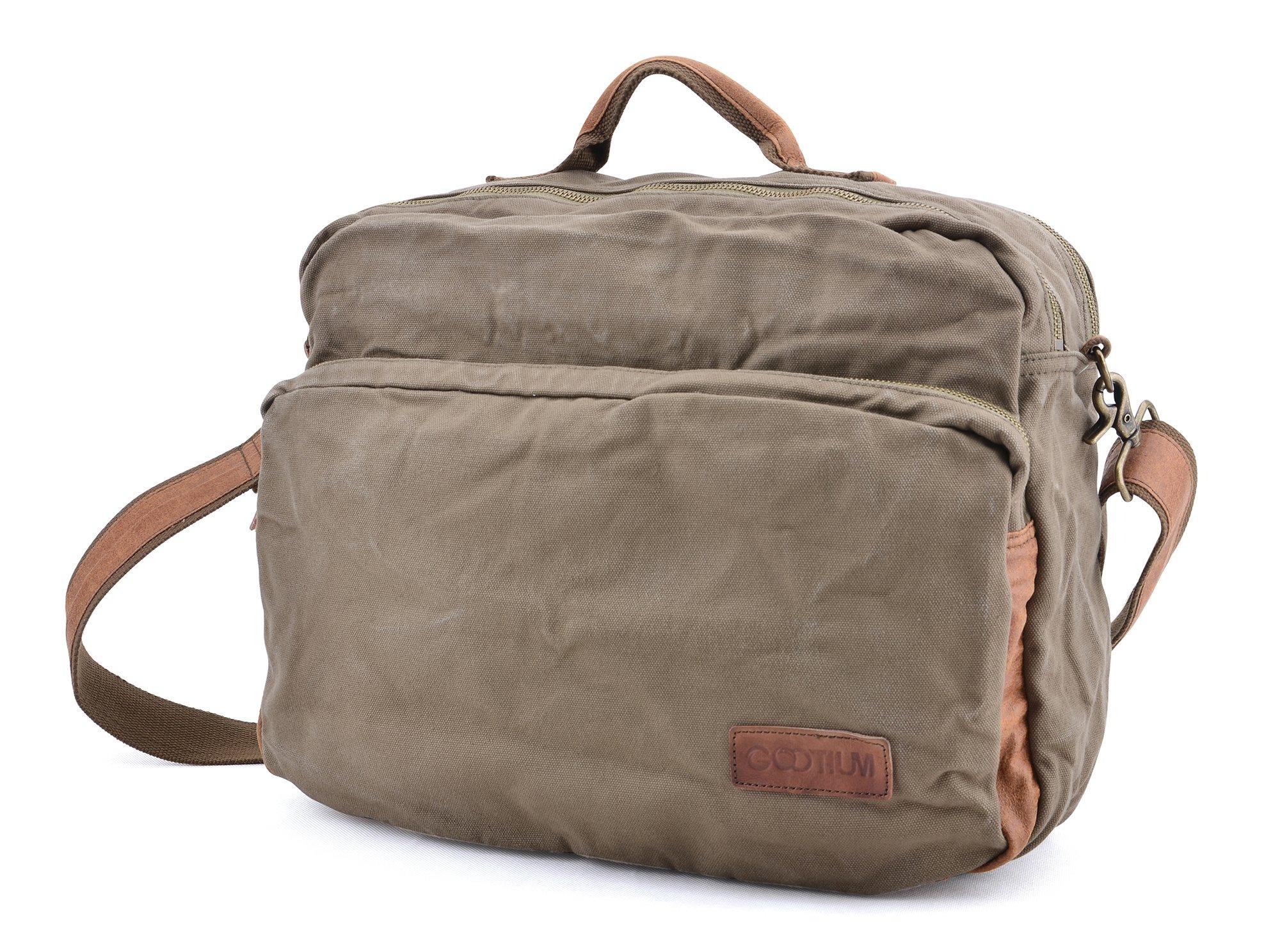 Gootium Canvas Laptop Shoulder Messenger Bag - Leather Handles for Men and Women, Army Green