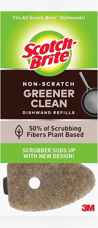 Scotch-Brite Greener Clean, Non-Scratch Dishwand Refills, Fits All Scotch-Brite Dishwands, 3 Refills