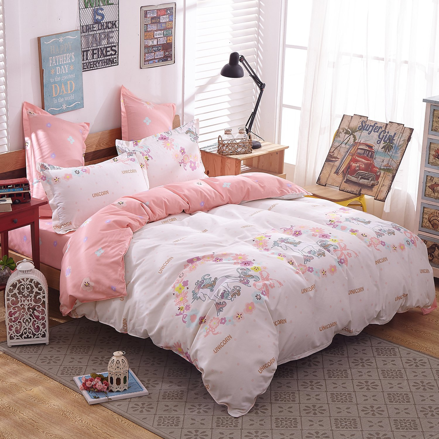 Girls Magic Unicorn Bed Set by KMZ [4pcs Twin size bedding 59