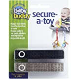 Baby Buddy Secure-A-Toy, Safety Strap Secures Toys, Teether, or Pacifiers to Strollers, Highchairs, Car Seats—Adjustable Length to Keep Toys Sanitary Clean Black-Tan 2 Count