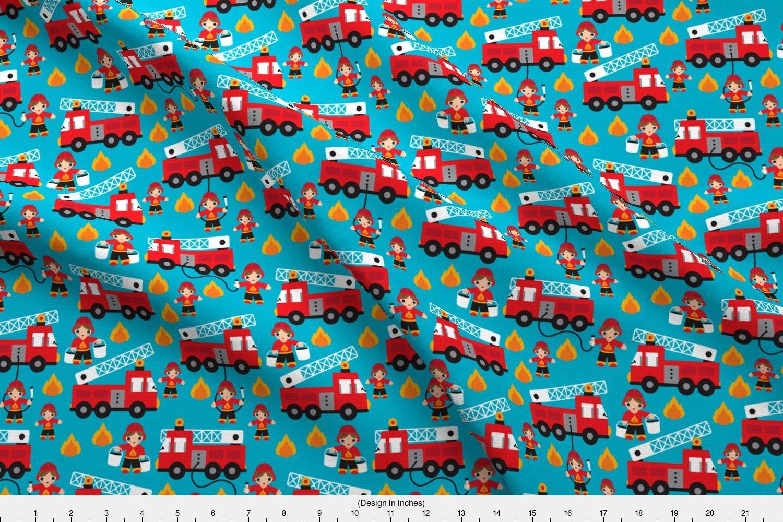 Amazon com: Spoonflower fire Truck Fabric - Fire Truck Fire Fighters