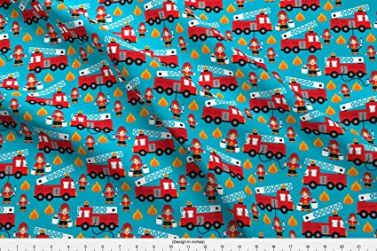 a7e8535119f07d Spoonflower fire Truck Fabric - Fire Truck Fire Fighters Fire Rescue 911  Boys Boy by Littlesmilemakers