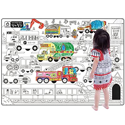 """A Set of 4, Giant Wall Size Coloring Posters for Kids Coloring Book Wall Decals for Kids Room Décor, 29.9"""" X 21.2""""(Transportations): Toys & Games"""