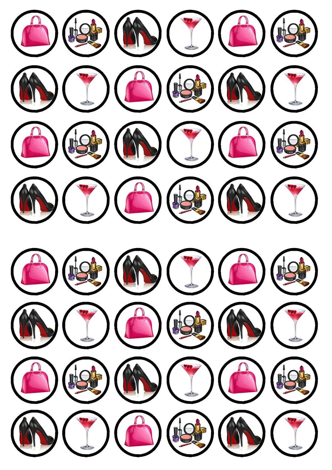 48 Bags Shoes Make Up Cocktails Edible PREMIUM THICKNESS SWEETENED VANILLA, Wafer Rice Paper Cupcake Toppers/Decorations
