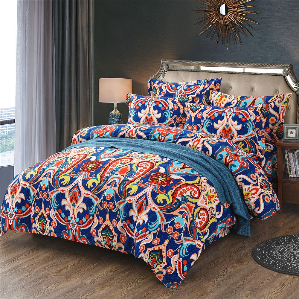 Ftyfty 4-Piece Luxury Cotton Bohemian Ethnic Style Vibrant Color Bedding Sets/Collections,Morocco Boho Chic Stripe Paisley Pattern Duvet Cover Sets with Shams,Floral Print for Home Decor (Queen)