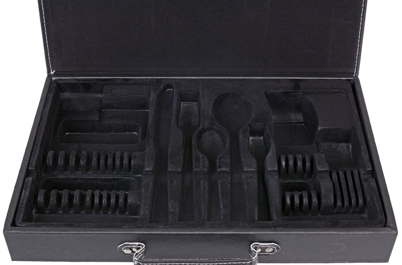 GRÄWE - Maletín para cubertería, vacía - unbestückter maletín de Piel sintética con compresas para cubertería de 30 Piezas, Color Blanco y Negro: Amazon.es: ...