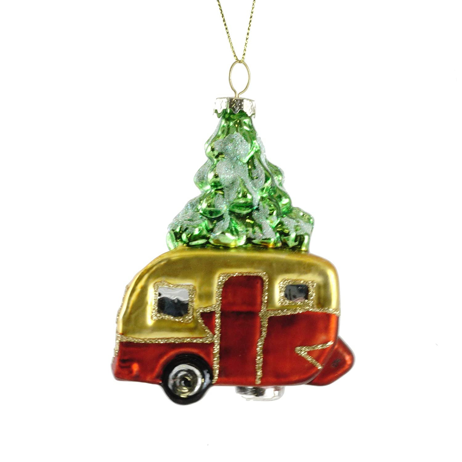Party Explosions Christmas Camper Trailer Glass Hanging Ornament