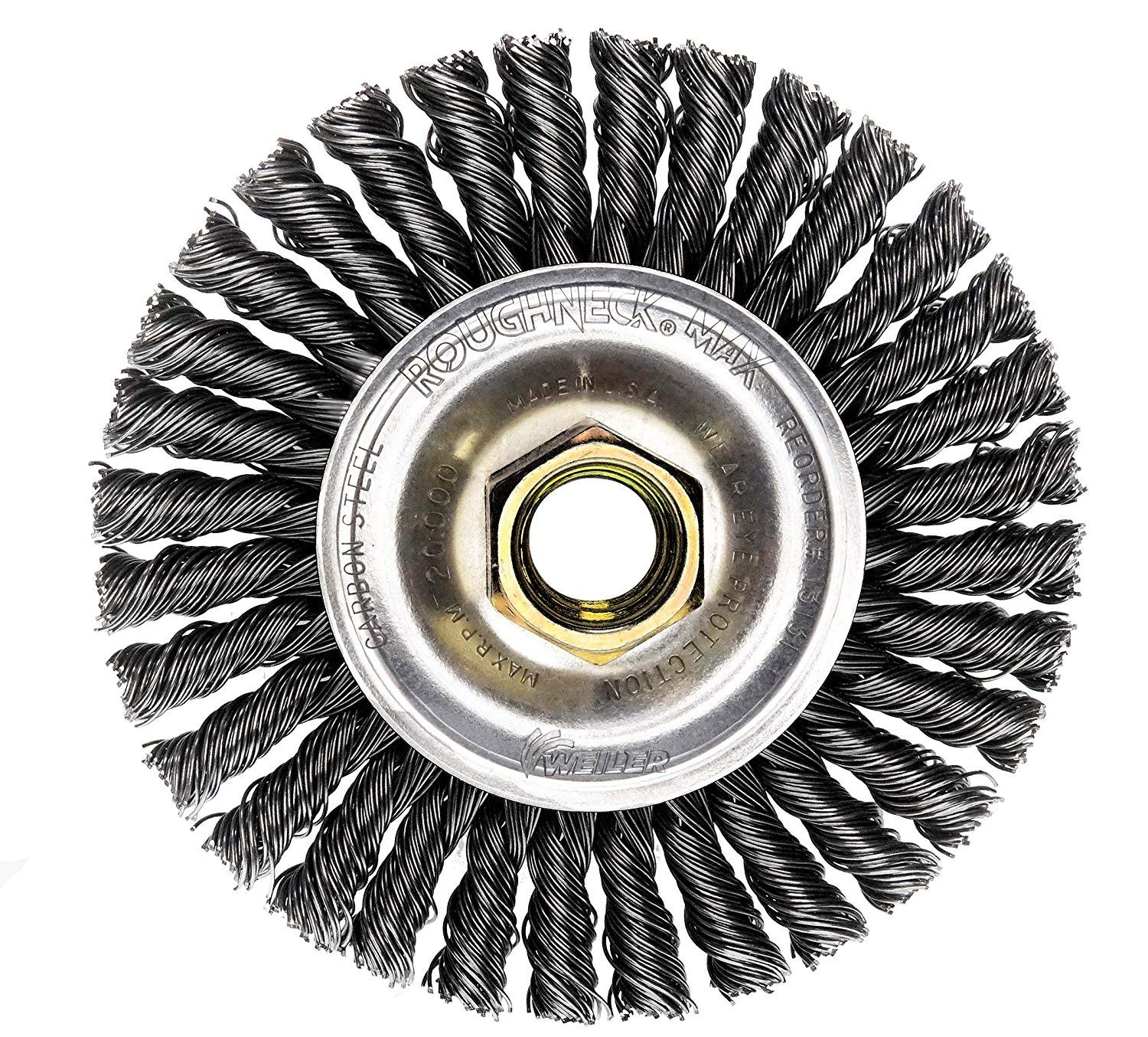 Weiler 13131 ROUGHNECK MAX 4'' Stringer Bead Wire Wheel, .020'' Steel Fill, 5/8''-11 UNC Nut, Made in USA, Pack of 5 by Weiler (Image #9)