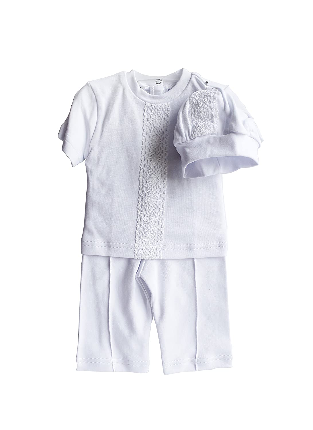 Baby Boy Suit Christening Baby Boy Outfit White Cotton Suit with Hat Three Snails