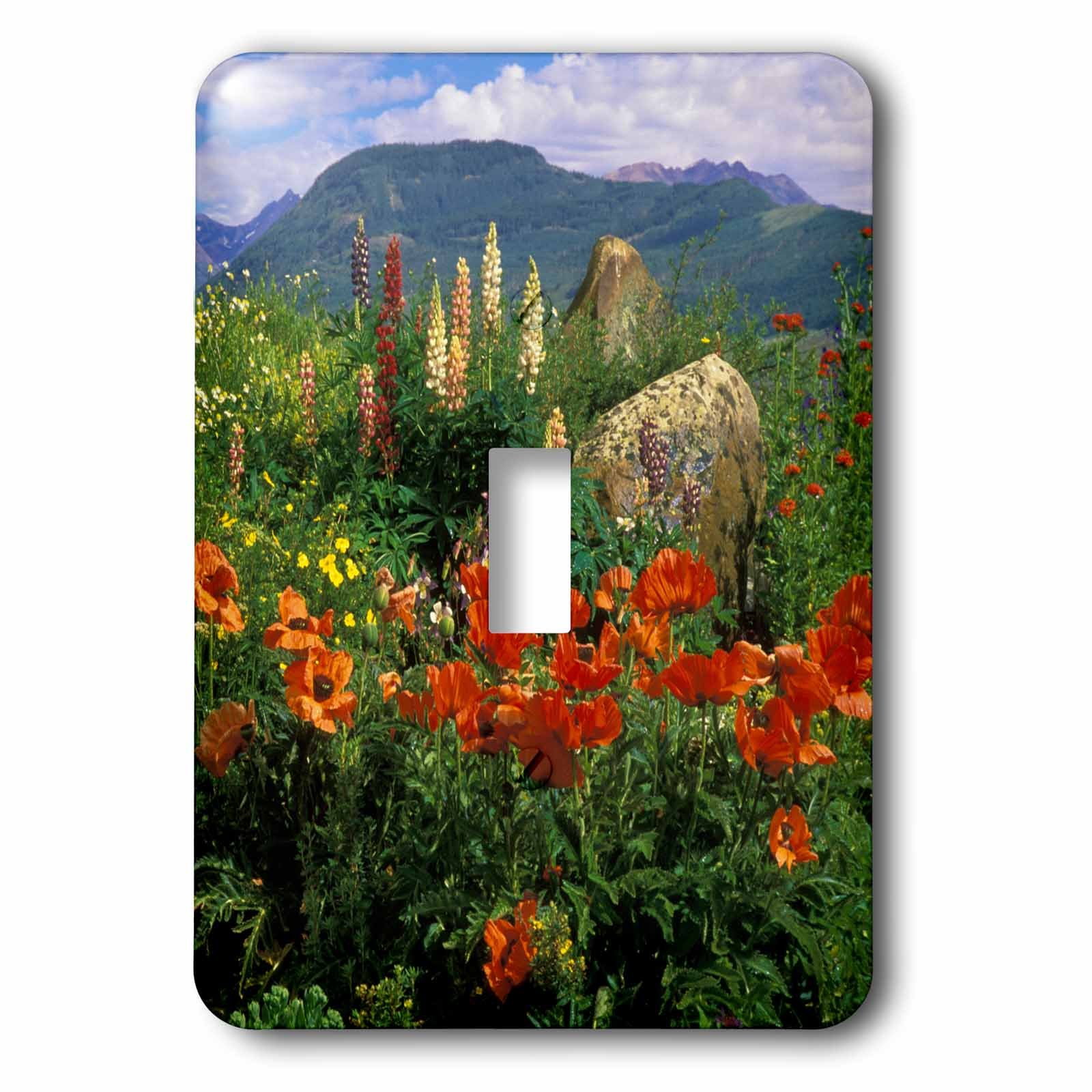 3dRose lsp_230385_1 USA, Colorado, Crested Butte. Poppies and Lupine in Mountain Garden Toggle Switch, Multicolor