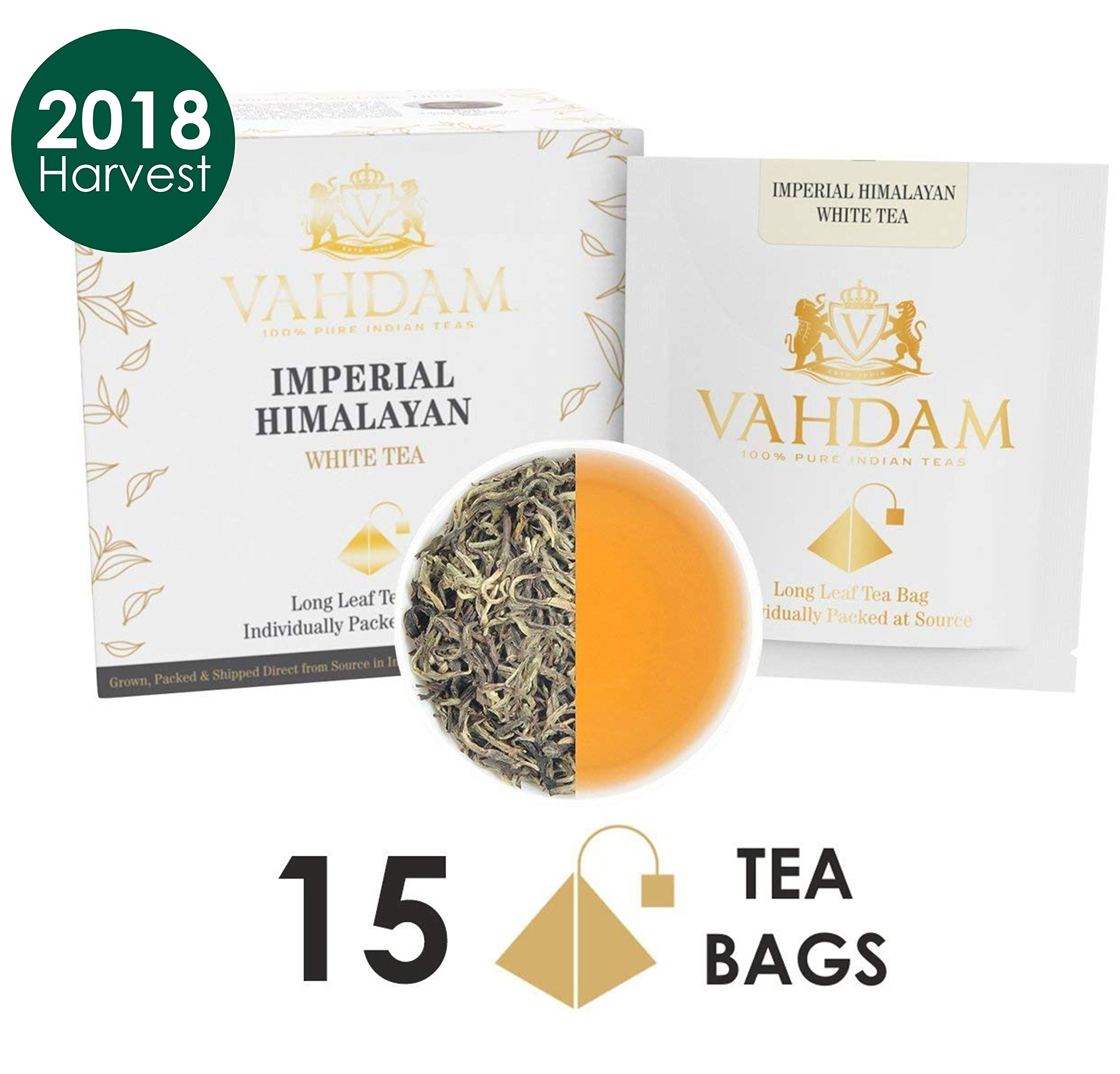 Imperial Himalayan White Tea 15 Tea Bags, Long Leaf Pyramid White Tea Bags Handpicked Harvest From High Elevation Estates, Pure White Tea, 100% Healthy And Natural, Unblended