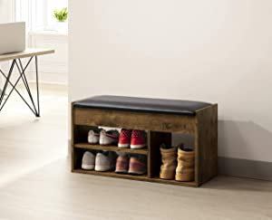 Nutmeg Brown Finish 2-Tier Shoes Bench Boot Organizing Bonded Leather Upholstered Storage Bench Shoe Rack Entryway with Hidden Compartment Under Seat by RAAMZO