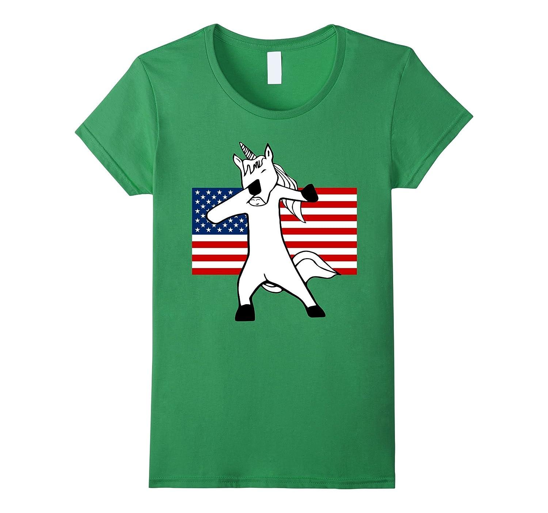 Fourth of July Dabbing Unicorn Funny Shirt for Men, Women