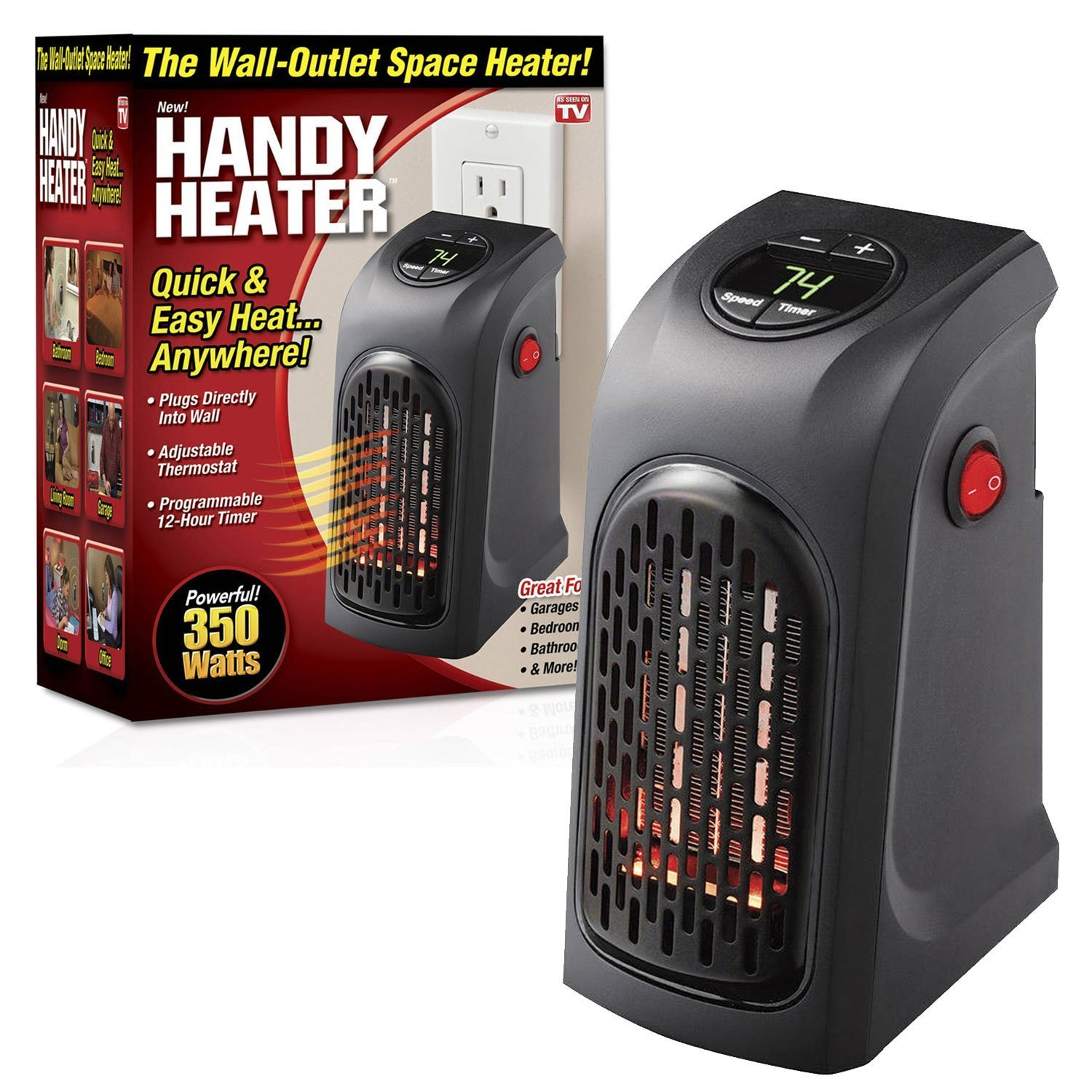 24x7 eMall PVC Handy Compact Plug-In Portable Digital Electric Heater...