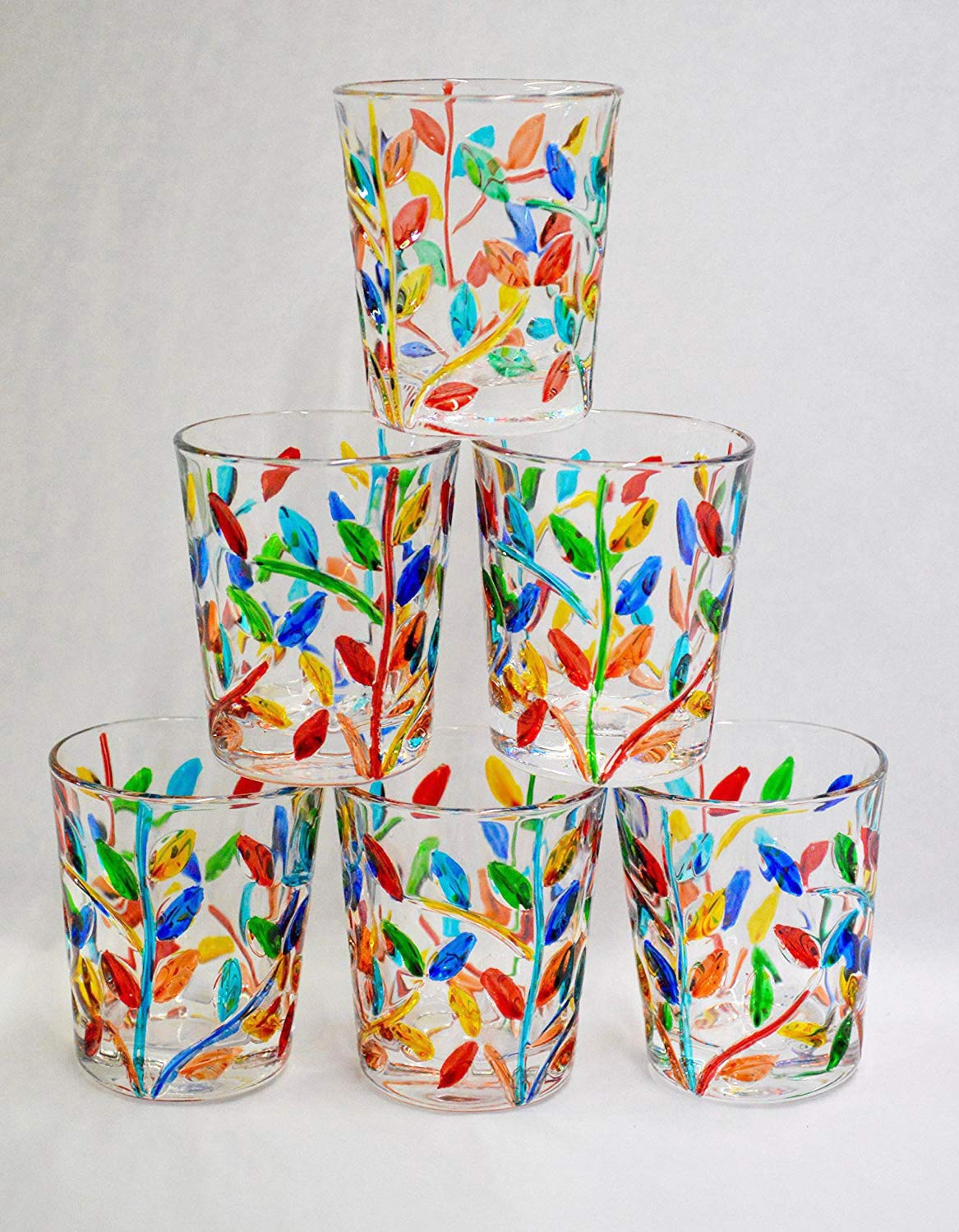 Murano Glass Shot Glasses, Hand Painted Flowervine Pattern, Set of 6 - Made In Italy