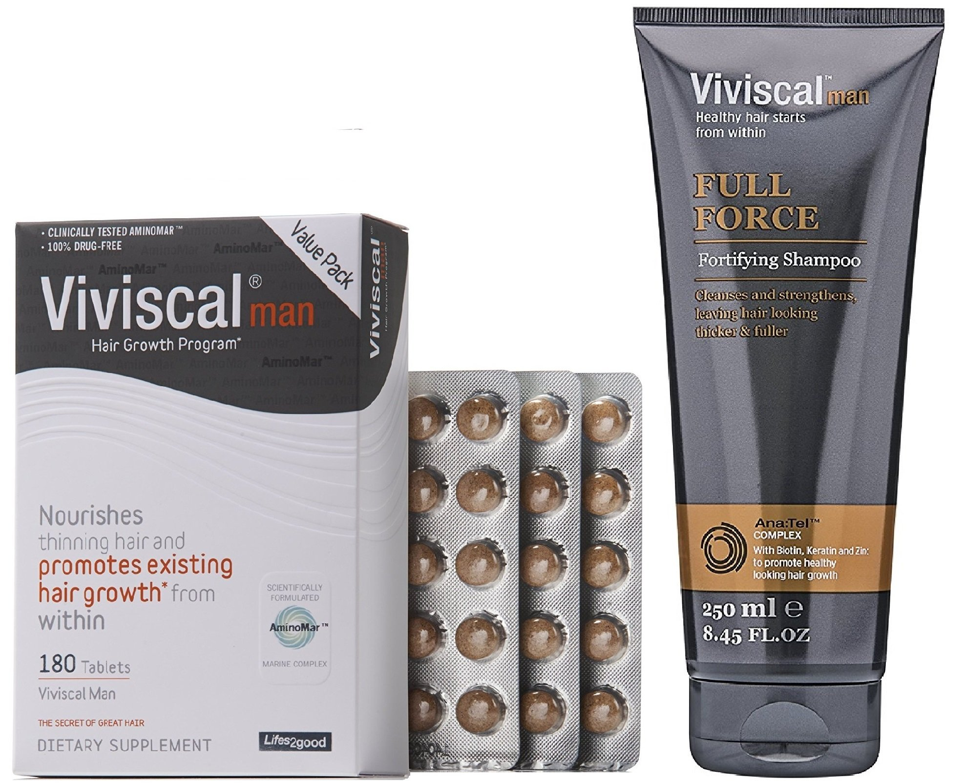 Viviscal Man Hair Growth Program, 3 Month Supply with Fortifying Shampoo
