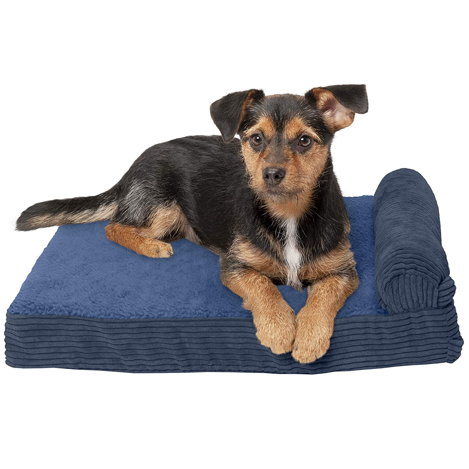 One Sided Navy bluee Small One Sided Navy bluee Small FurHaven Memory Foam Corduroy Chaise Lounge Pet Bed for Dogs and Cats, Navy, Small