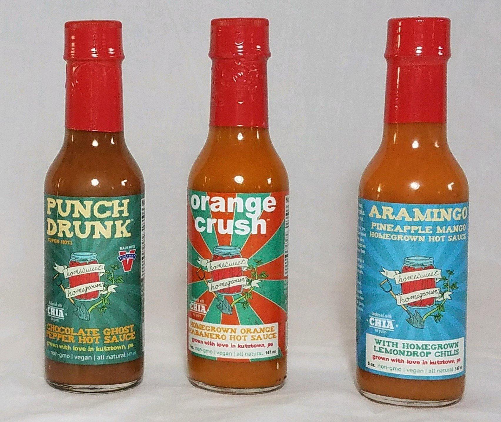Homesweet Homegrown Vegan Hot Sauce 3 Piece Set - Punch Drunk Chocolate Ghost Pepper Hot Sauce, Orange Crush Habanero Hot Sauce, Aramingo Pineapple Mango Hot Sauce, 5-ounce bottles