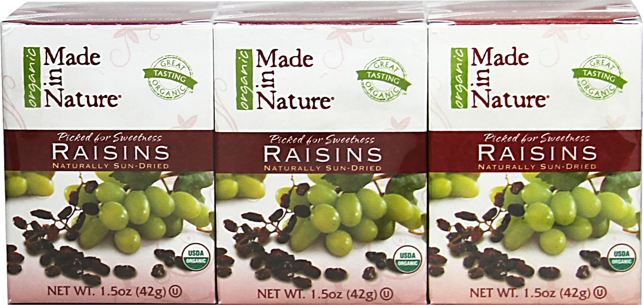 Made In Nature Thompson Seedless Raisins 1.5 Oz -Pack of 24