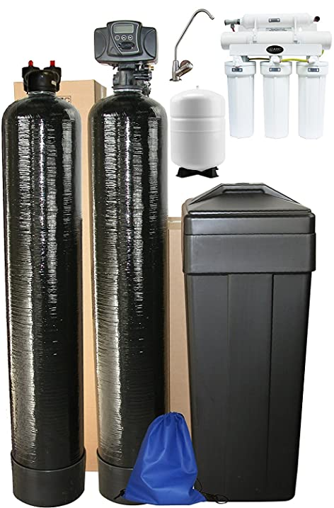 abcwaters triple combo whole house fleck 5600sxt grain water softener system upflow carbon tank