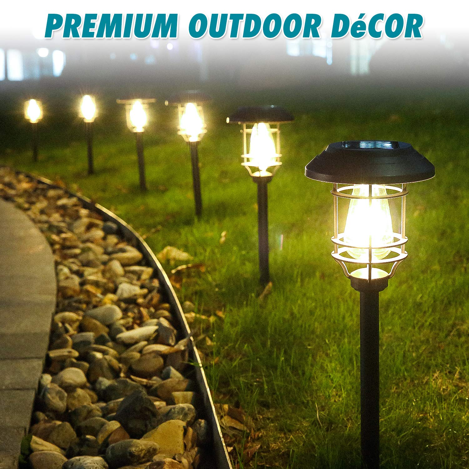 HECARIM Solar Lights Outdoor, 6 Pack Solar Pathway Lights, Solar Powered Garden Lights, Waterproof LED Solar Landscape Lights for Walkway, Pathway, Lawn, Yard and Driveway by HECARIM (Image #4)