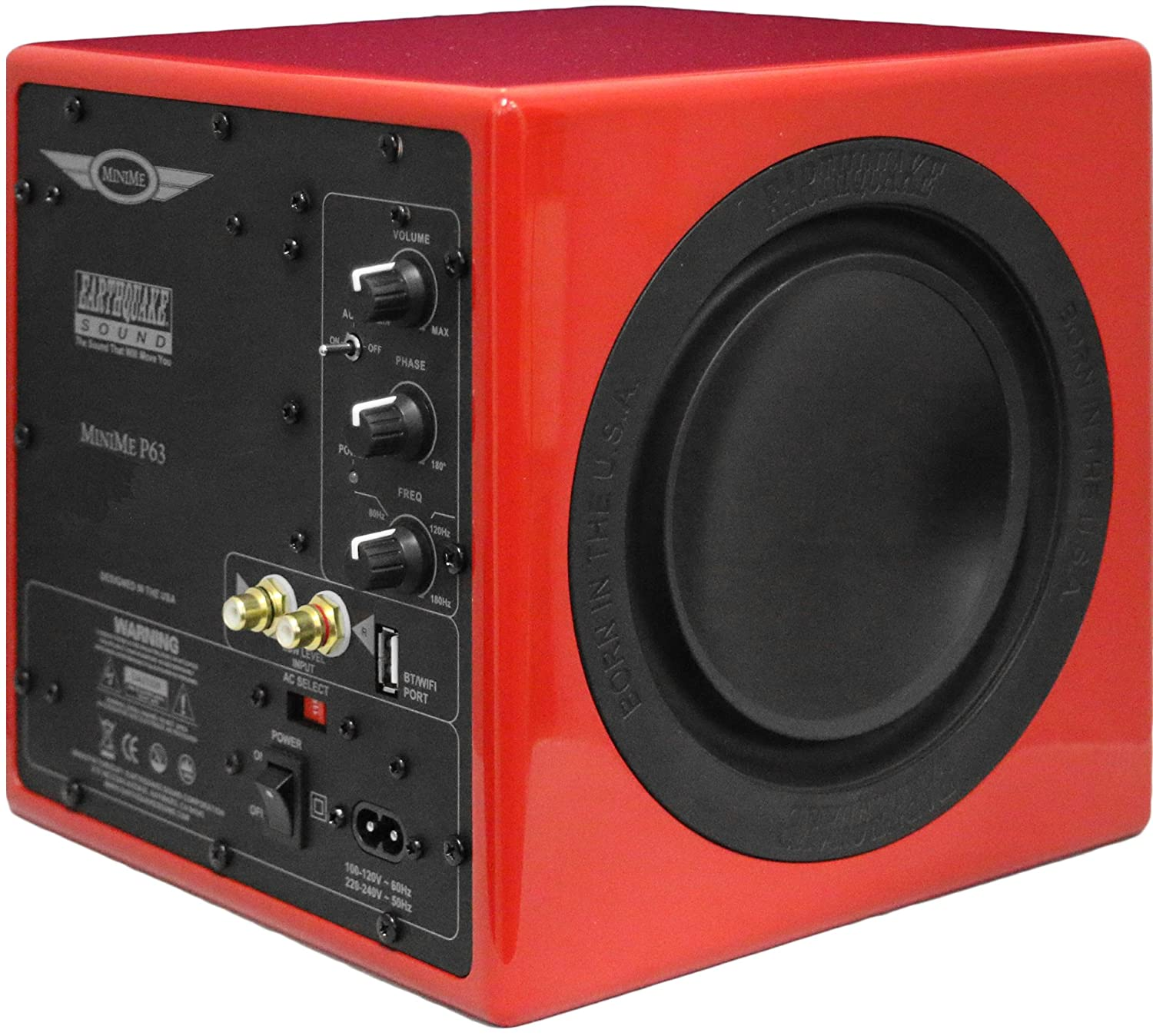 Earthquake Sound MiniMe-P63 Compact 6.5-inch Powered Subwoofer with Dual Passive Radiators, Red