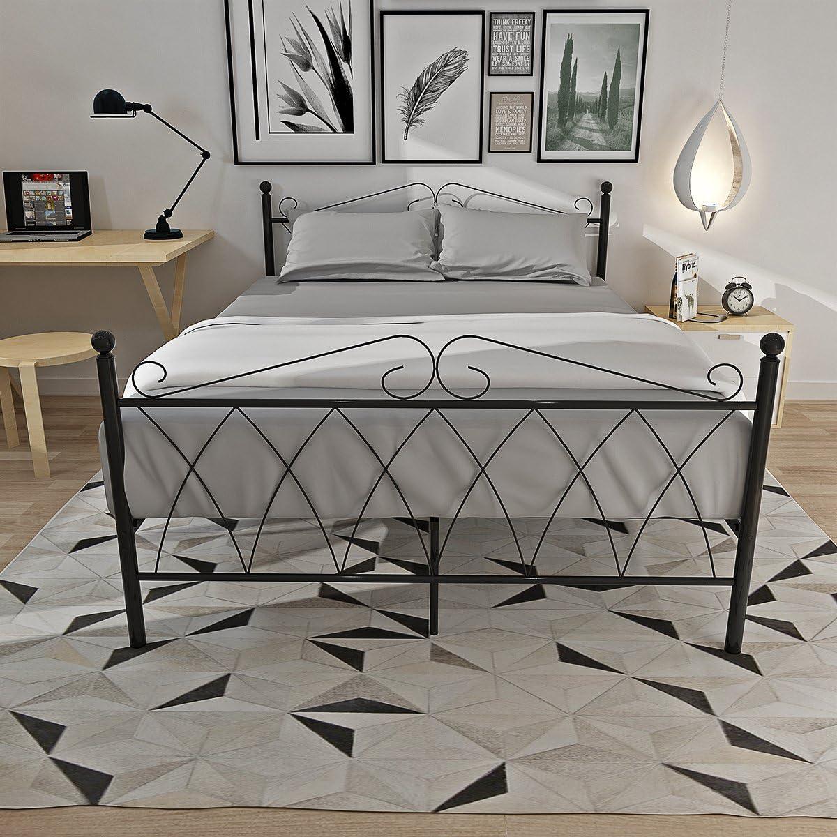 Marco para cama de 90 cm, de metal, con cabecero y piecero, con somier, de 91,44 cm, metal, negro, Double Bed Frame
