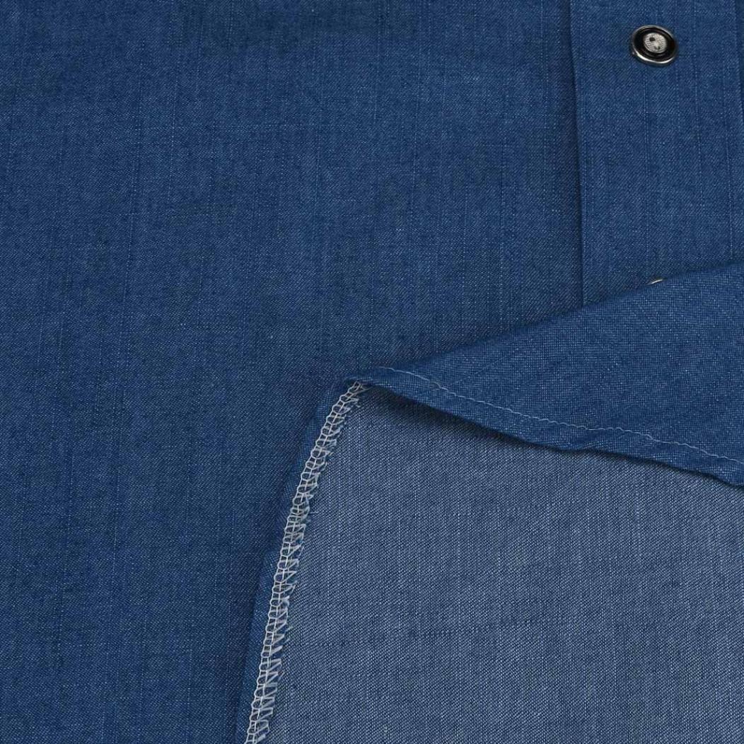Gotd Women Strapless Long Sleeve Loose Denim Dress (S, Blue)