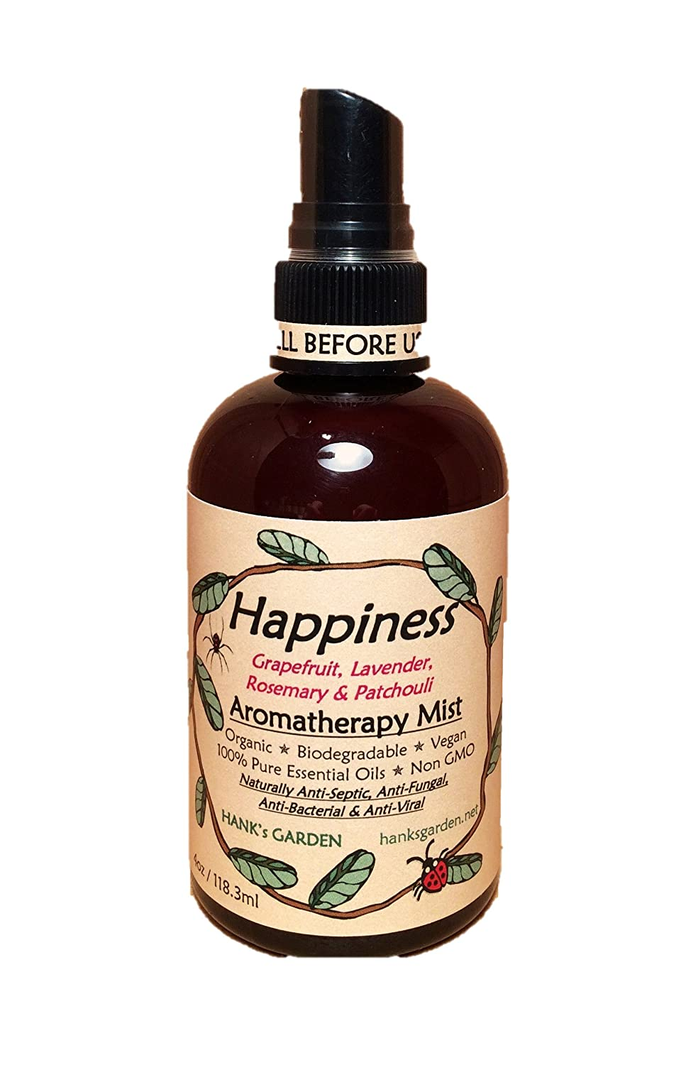 HAPPINESS Aromatherapy Body and Room Mist Spray - Lavender, Grapefruit, Rosemary, Patchouli - 100% Pure Essential Oils, All Natural, Vegan, Organic, Biodegradable, Non GMO (8 oz)