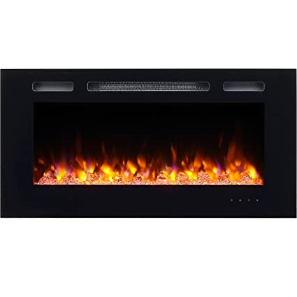 Amazon Com Puraflame Alice 40 Recessed Electric Fireplace Wall