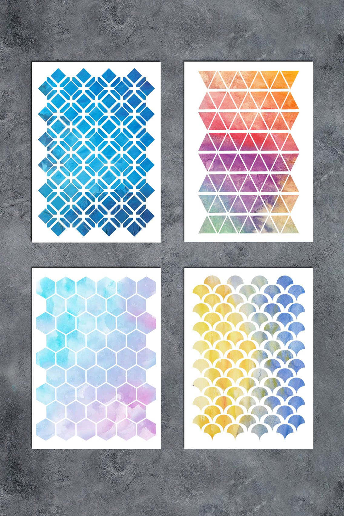 GSS Designs Patterns Stencil Template Set(4 Pack)- Hexagon Triangles Fish Scale Oriental A5(6x8.25 Inch) - Art Painting for Card Making Canvas Furniture