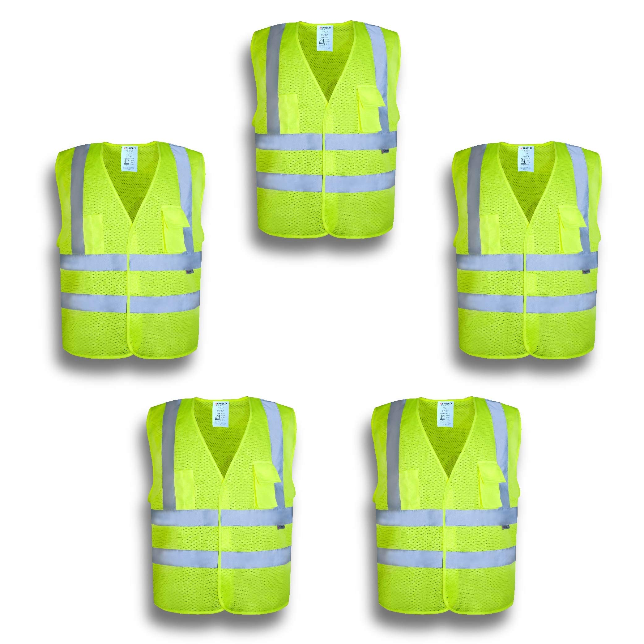 XSHIELD XS0006,High Visibility Mesh Safety Vest with Silver Stripe,ANSI/ISEA 107-2015 Type R Class2 Not FR,Pack of 5 (XL, Yellow)