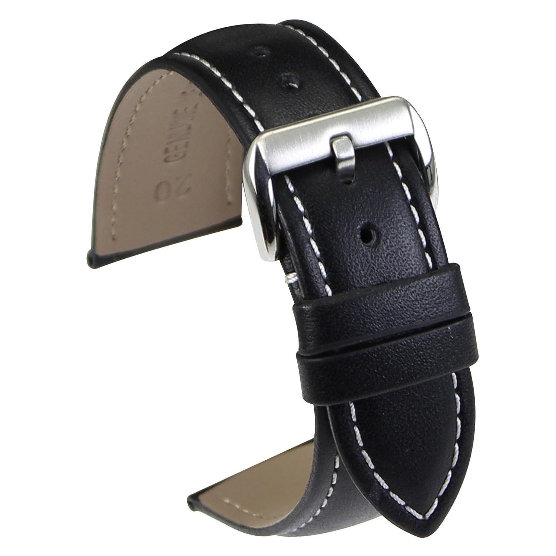 zlimsn腕時計ストラップ、天然レザーブラックブラウン腕時計バンド交換用for Men withステンレスバックル 20mm Black Band & White Stitched & Silver Buckle Black Band & White Stitched & Silver Buckle 20mm B071142GKN