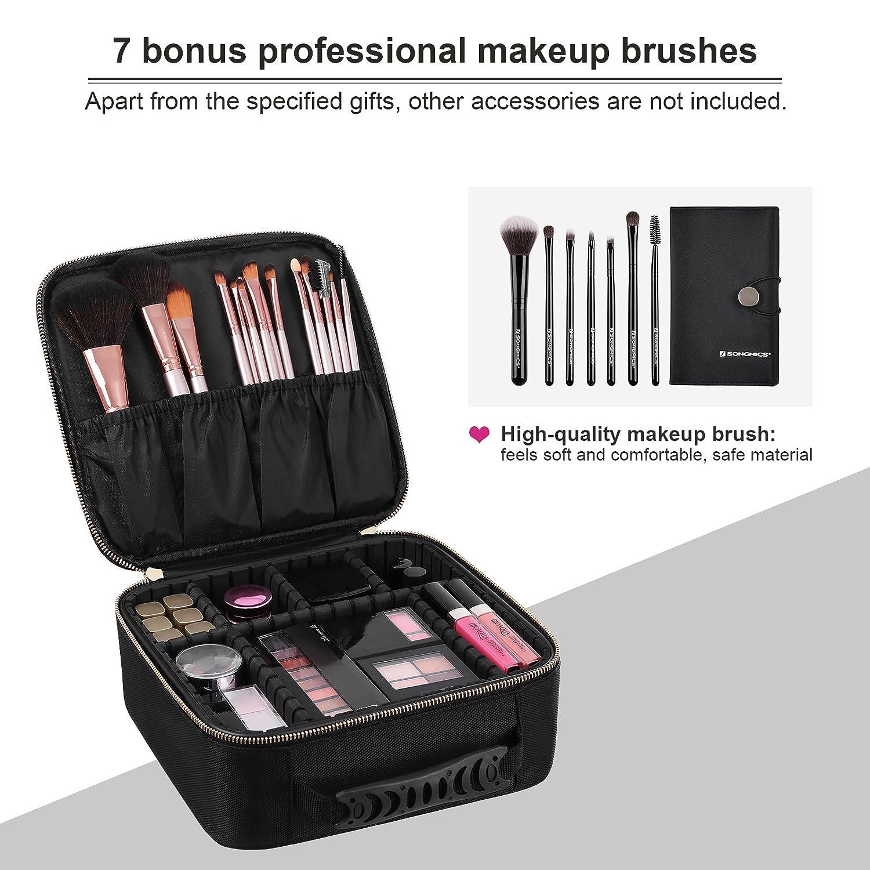 Amazoncom Songmics Hardshell Makeup Train Case With 7 Makeup Brushes