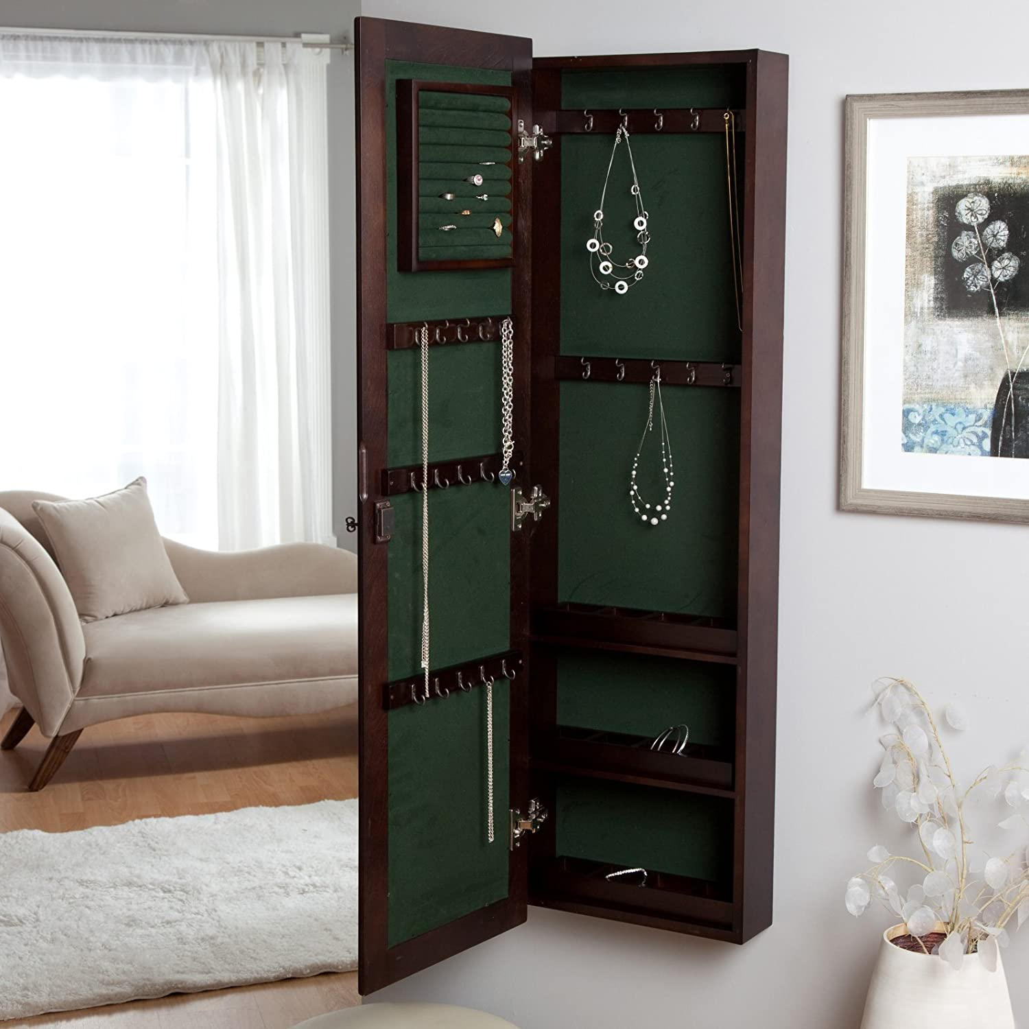 Amazoncom WallMounted Locking Wooden Jewelry Armoire 145W x