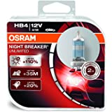 OSRAM NIGHT BREAKER UNLIMITED HB4, Halogen-Scheinwerferlampe, 9006NBU-HCB, 12V PKW, Duobox (2 Stück)