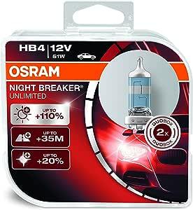 Osram Night Breaker HB4 Halogen Headlamp, 12V, 51W, 2 Units - 9006NBU-HCB