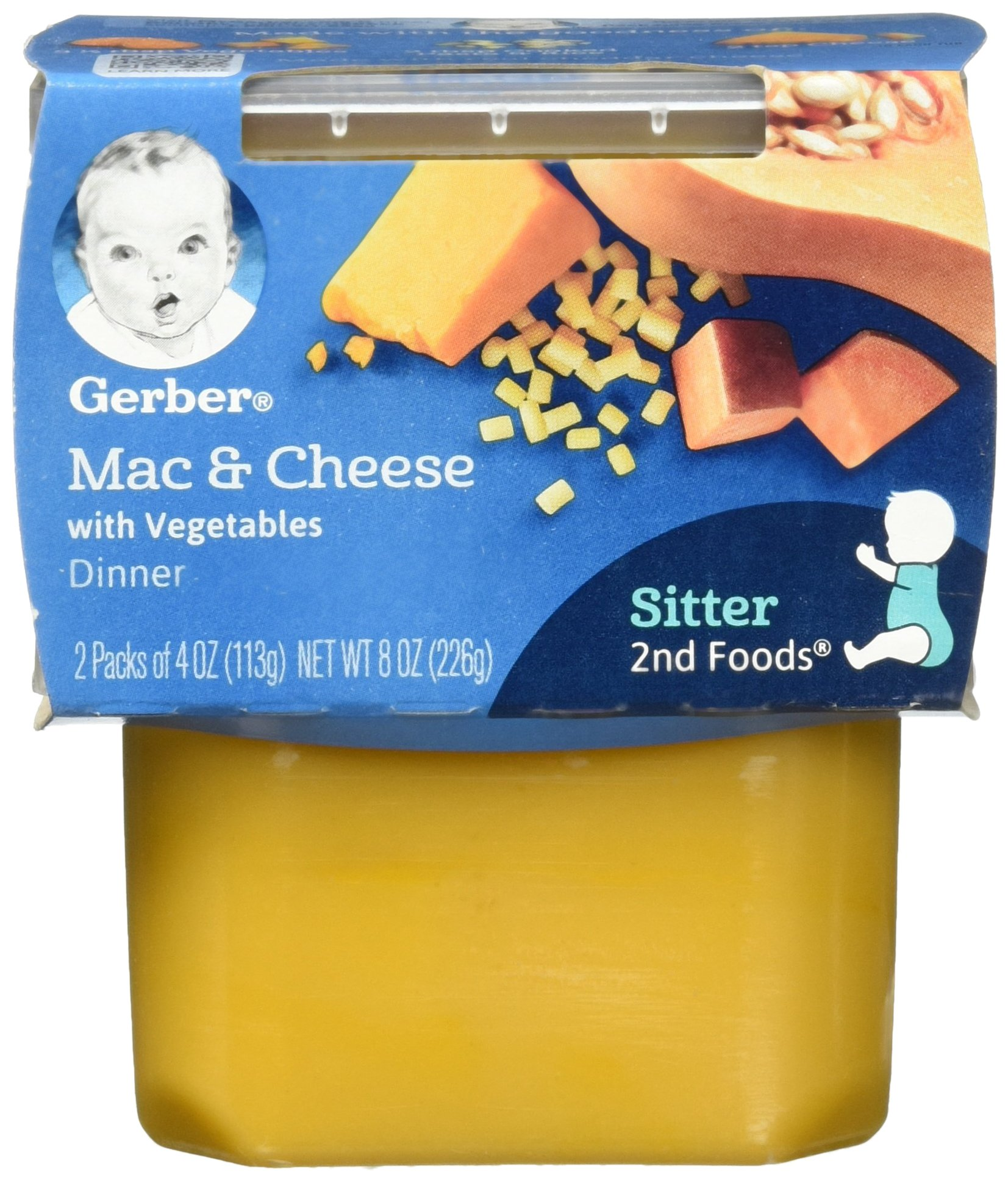 Gerber 2nd Foods Macaroni & Cheese with Vegetables Pureed Baby Food, 4 Ounce Tubs, 2 Count (Pack of 8) by Gerber
