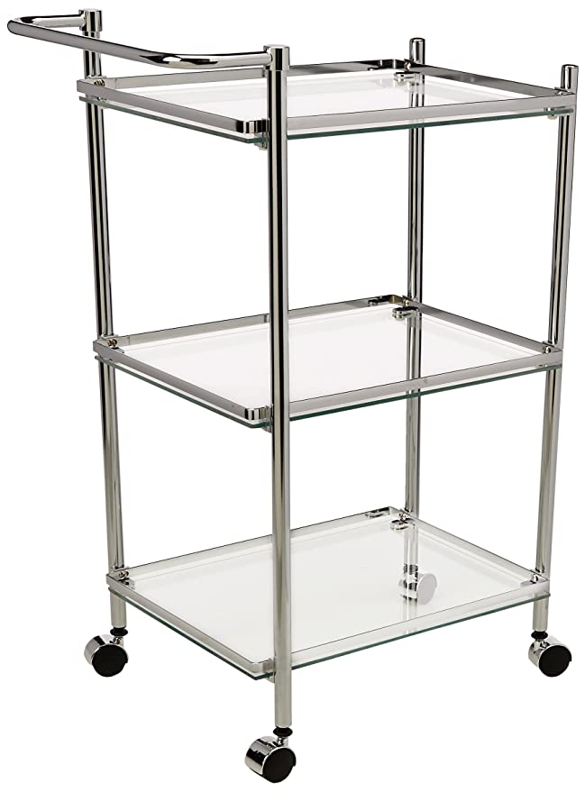 Organize It All 3 Tier Chrome and Tempered Glass Serving Cart