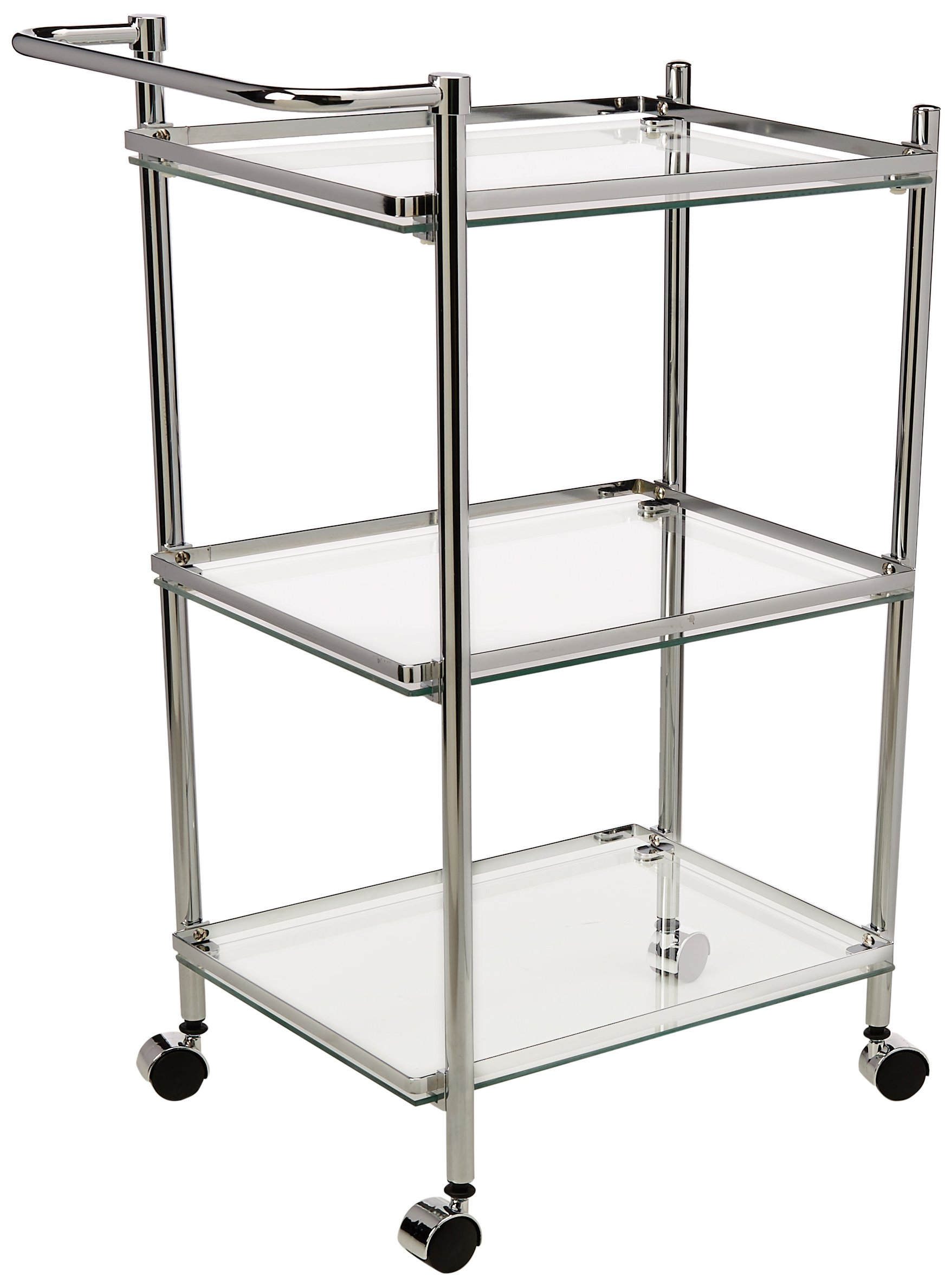 Organize It All 3 Tier Chrome and Tempered Glass Serving Cart by Organize It All