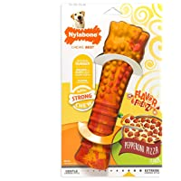 Nylabone Power Chew Extreme Chewing Dura Chew Textured Toy, Frenzy Pepperoni Pizza Flavored Bone, Large, Model:NRB555P