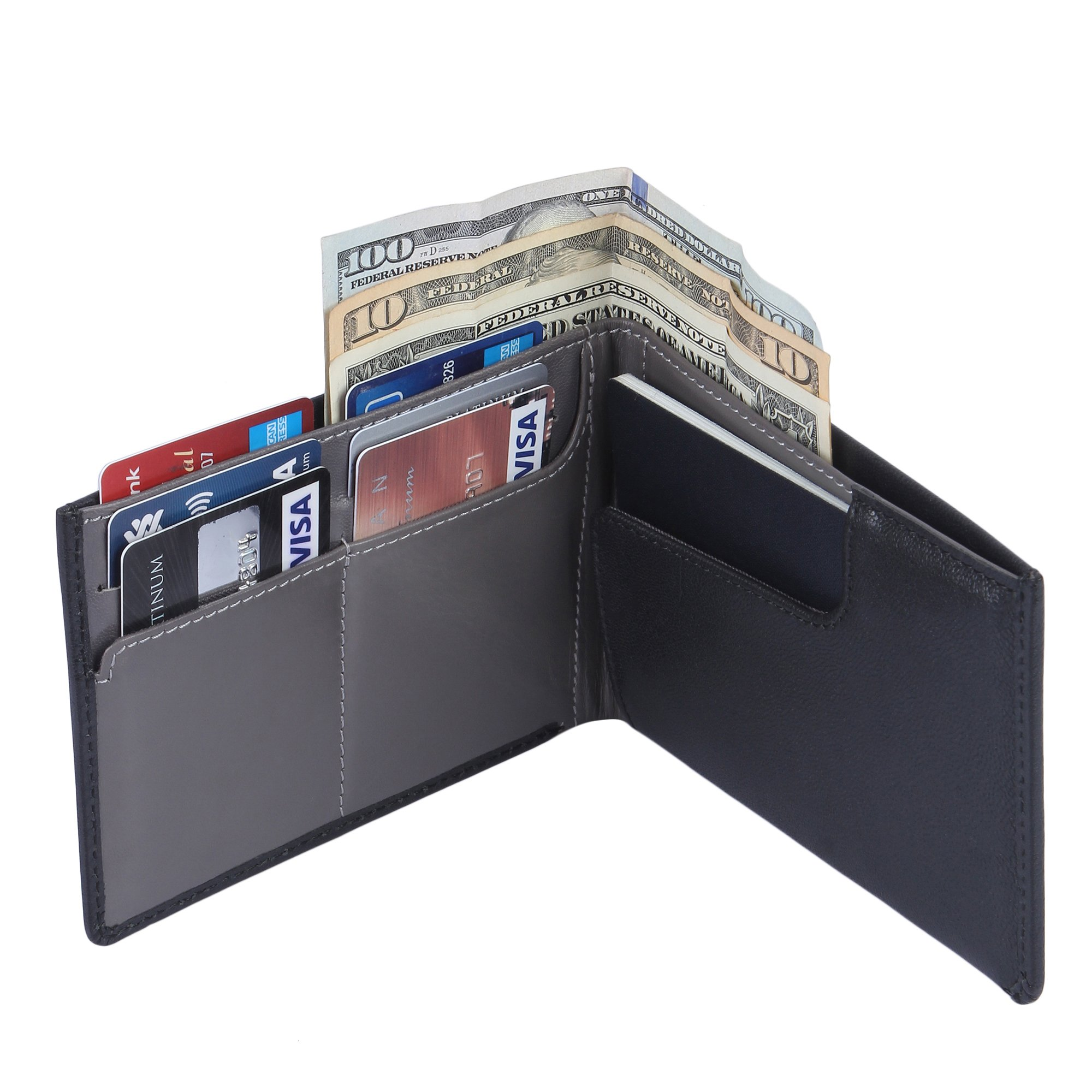 Genuine Sheep Leather RFID Blocking Travel Wallet & Passport Holder for Men and Women - Glossy Black by BELFORD