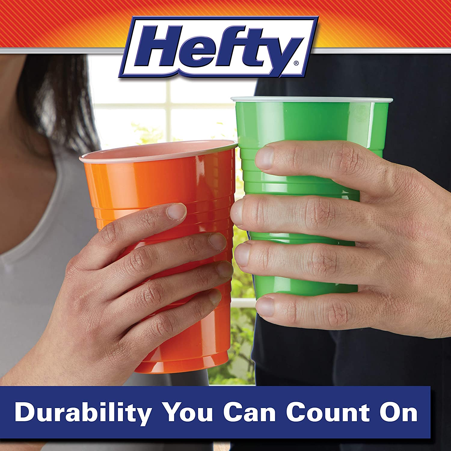 100Count Hefty Disposable Plastic Cups in Assorted Colors 16 Oz