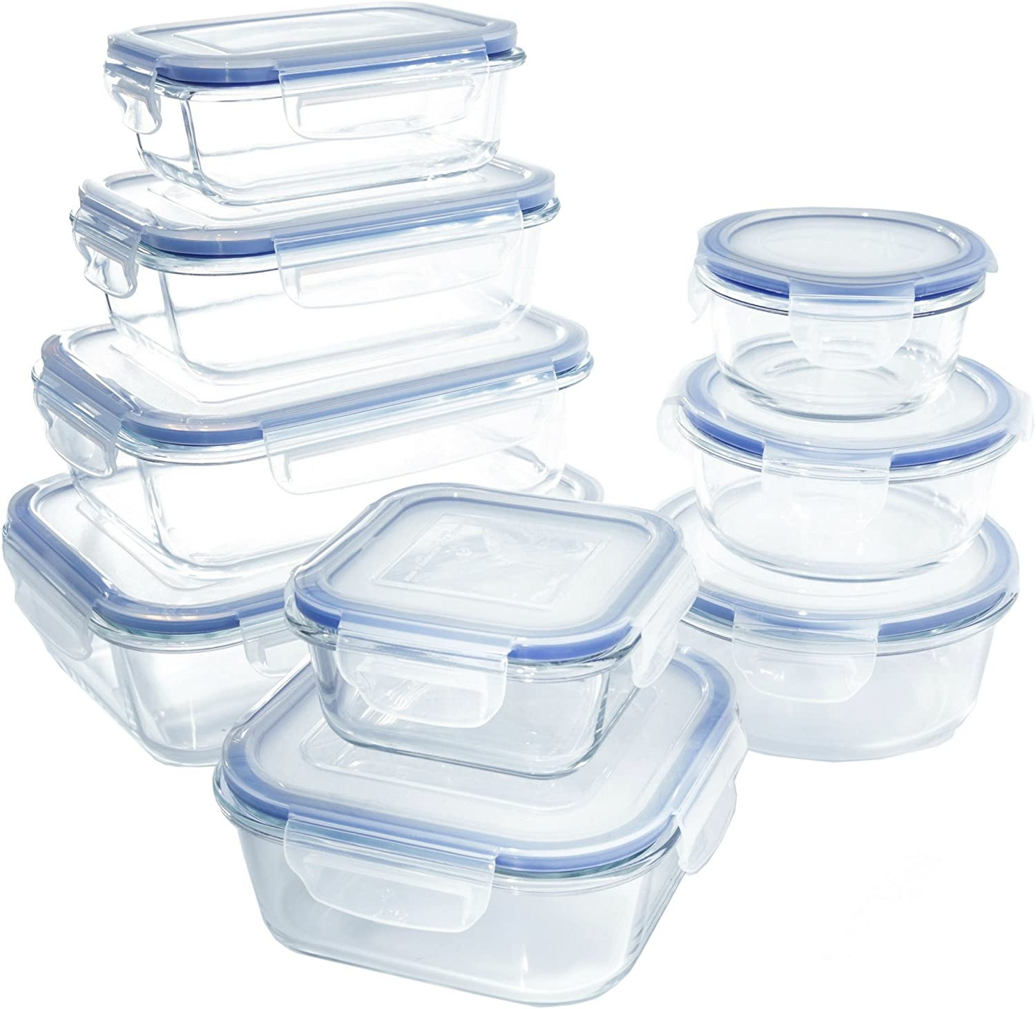 1790 Glass Food Storage Containers with Lids, Glass Meal Prep Containers, Airtight Glass Lunch Boxes, BPA-Free, Approved & Leak Proof (18 Piece - 9PK) Up to 1040℉