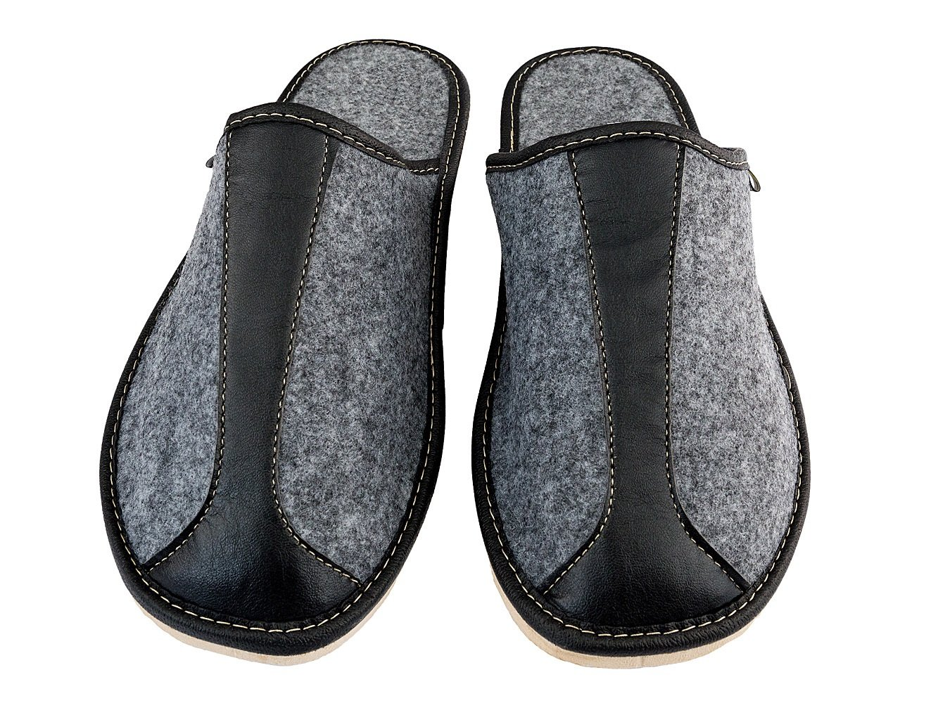 Filzpantoffeln Herren Filz Hausschuhe Filzlatschen Wärme Komfortschuhe Grau Handgemachte Qualität (44, Alfredo)
