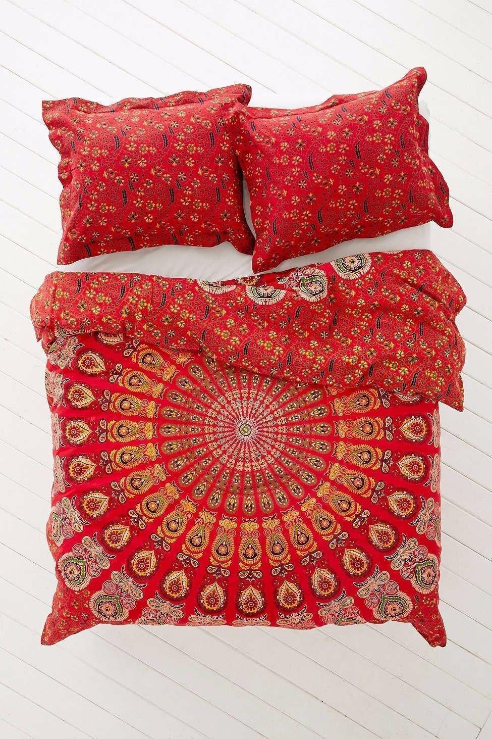 Vedant Designs Indian Peacock Mandala Queen Size Comforter Hippie Boho Cotton Doona Duvet Cover Comforter Mandala Hippie Bohemian Quilt Cover Set By