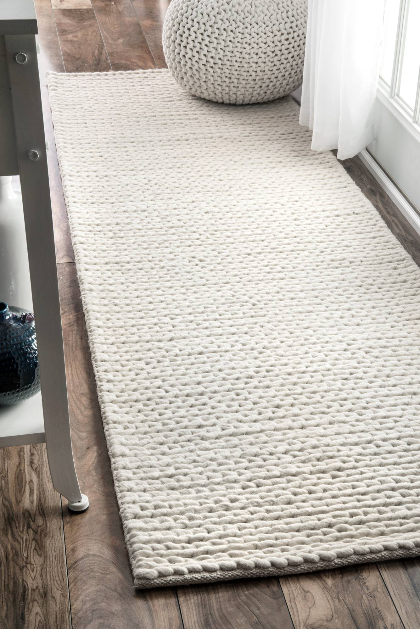 nuLOOM Contemporary Solid Braided Runner Area Rugs, 2' 6'' x 8', Off White
