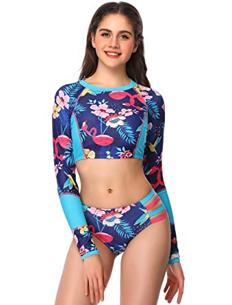cf268667ae Verano Playa Women Long Sleeve Rash Guard Swimsuit Surfing Crop Top Swimwear  Two Piece Splice Sporty