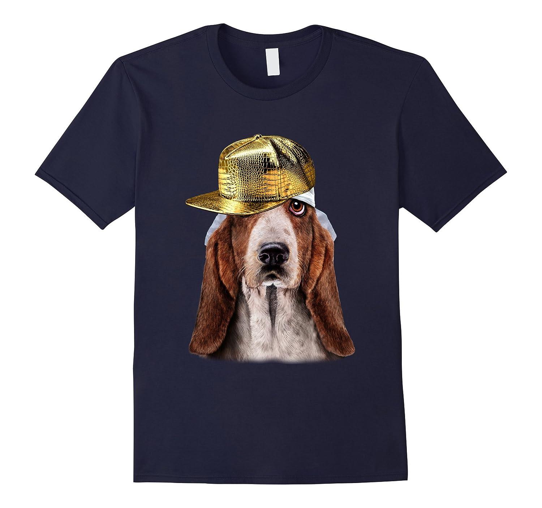 Basset Hound in Hip Hop Golden Cap, Rapper Dog T-Shirt-T-Shirt